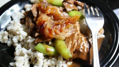 Weeknight Beef and Snap Pea Tagine with Sweet Onion & Apricot Mrouzia
