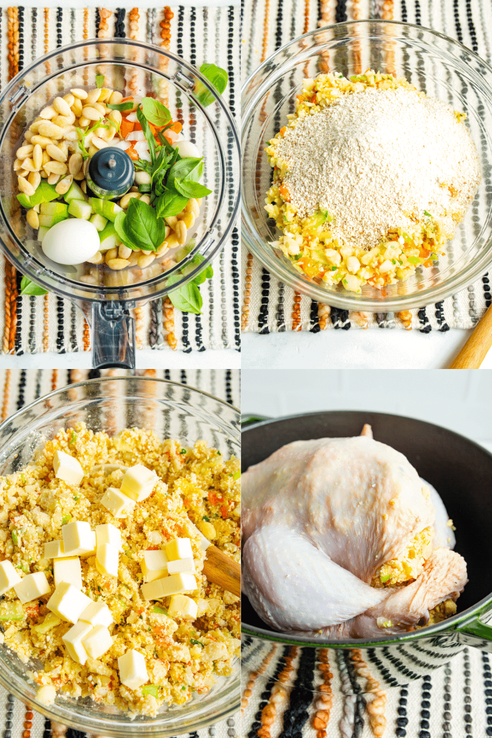 4 pictures that show the steps to make the stuffing; mixing ingredients in food processor, combining ingredients, stuffing the chicken.