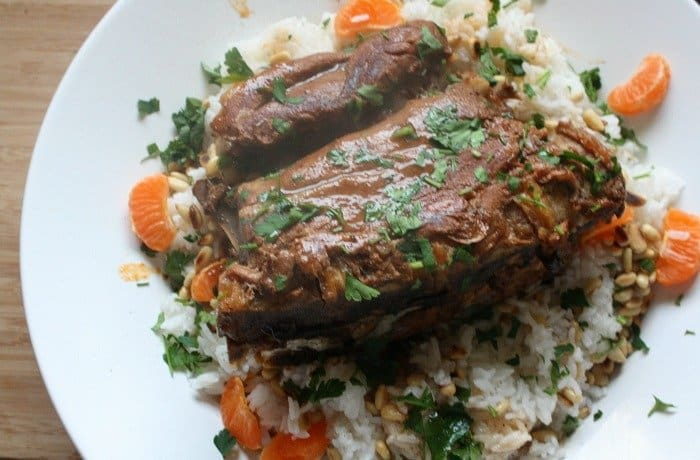 Slow Cooker Moroccan Tagine Lamb Roast with Mandarin and Pine Nut Rice