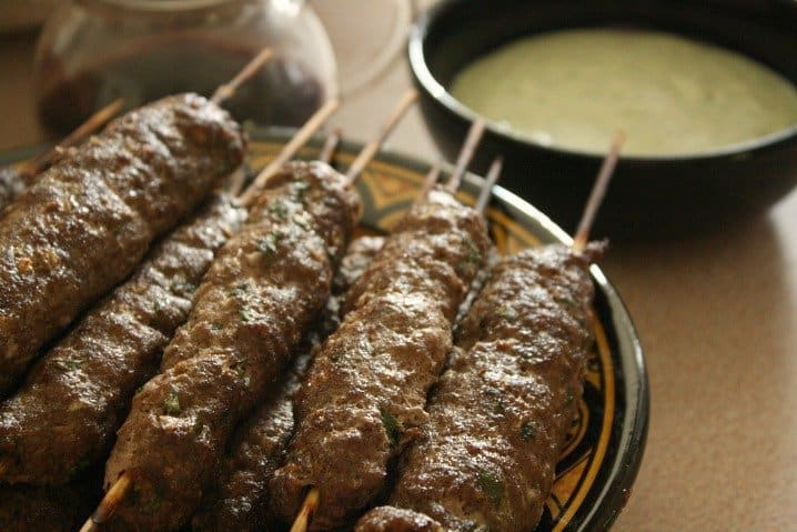 Lamb Kebabs with Pomegranate and Mint Dipping Sauce