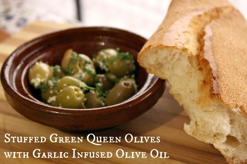 Stuffed Green Queen Olives with Garlic Infused Olive Oil for #SundaySupper