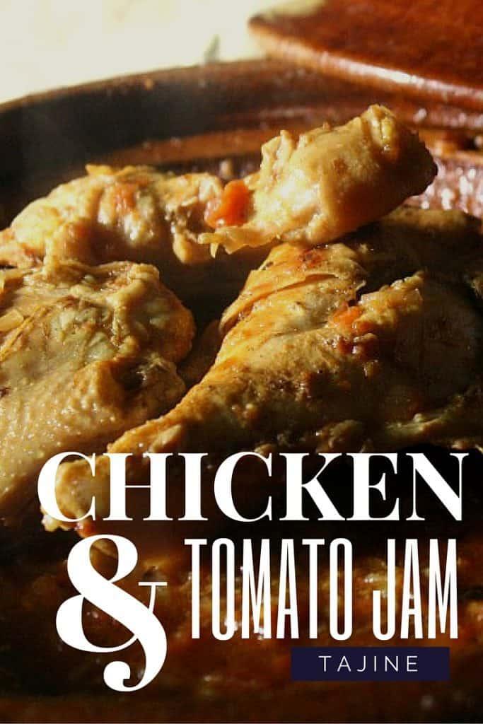 Chicken with onion and tomato jam tajine