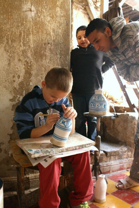 Painting Smaller Drums in Fez, Morocco