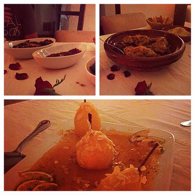 Not disappointed one bit! Lovely salad trio, chicken and olive tajine, and poached pears in a sweet lemon sauce. #dinner #marrakech #morocco #dinner #riads #food #travel