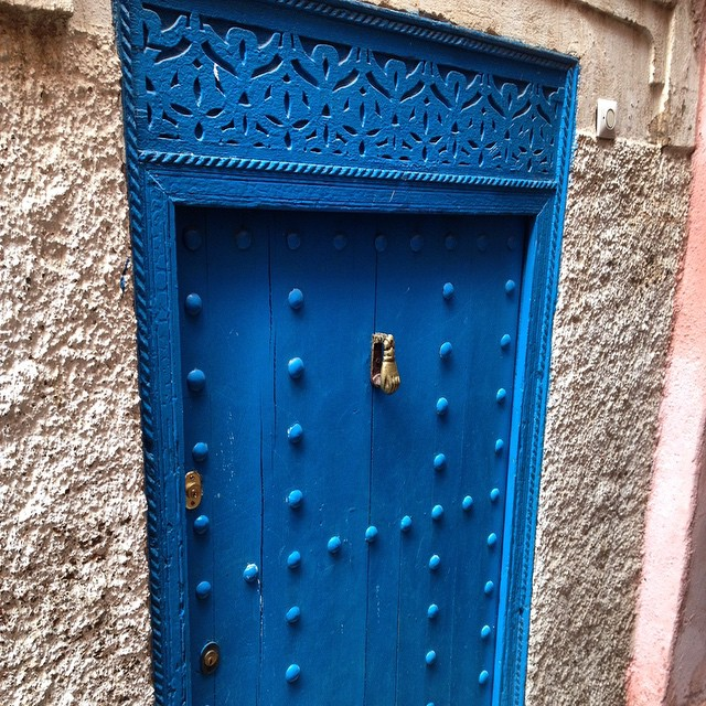 My house is going to have a peacock blue door one day but the knocker will be a peacock tail! #Morocco #door #blue #house #design