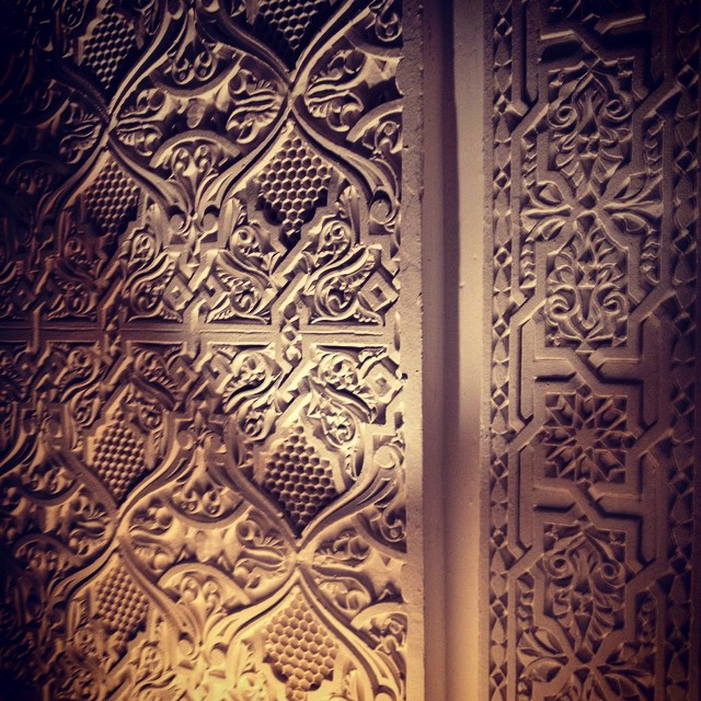 Traditional style Moroccan etching. In palaces and wealthy homes this was done in place on marble or other stone. Today it's often done in plaster and adhered to the surface making it much more affordable. #morocco #design #art