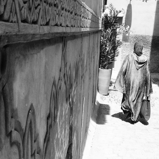 The streets of #marrakech #women #travel #medina #design #blackandwhite