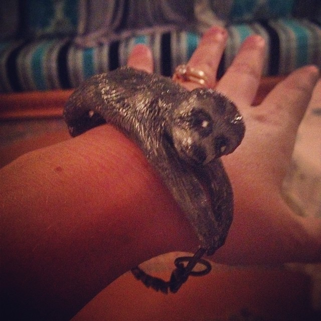 In a social media class I taught this summer one of the attendees made jewelry. I ordered a custom made sloth bracelet. Isn't he cute?!? #sloth #jewelry