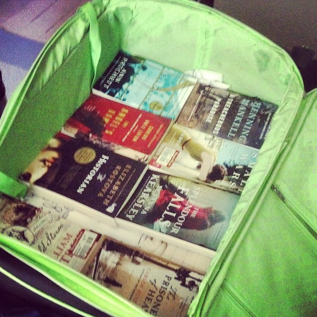 Today I started packing for our trip home to #morocco. I have two layers of books in 2 suitcases. It's what I missed the most. #books #reading #travel #packing what's one thing you miss #expat friends?