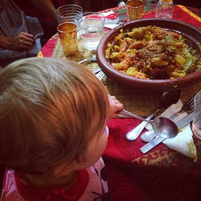 Our littlest #marrakechfoodtour participant yet! Baby A was so sweet and tried everything!! Think your kids won't like Moroccan food? Think again! #kids #travel #morocco #food