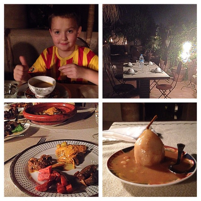 Our rooftop dinner. My favorite part of staying in #riads. We had a pumpkin soup, beef tajine, chicken and olive tajine and poached pears. #food #travel #familytravel #foodies #Marrakech #Morocco