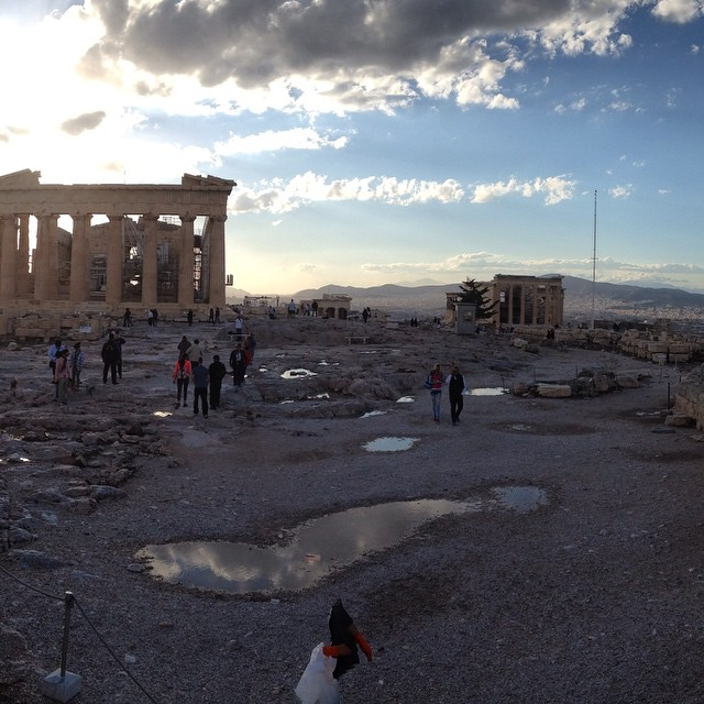 The #sunset over the Parthenon after an afternoon of rain. #Greece #thisisathens #travel #architecture