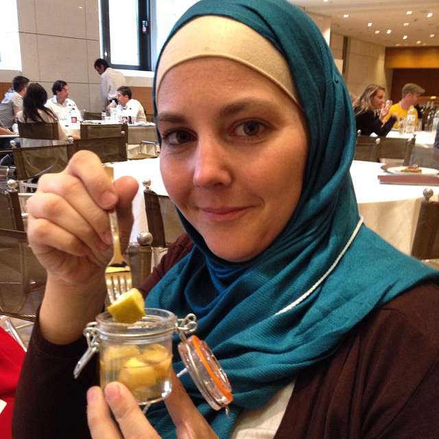 Me and my mini fork and fruit dessert! I need about 10 of these little guys for food props! #tbexathens #foodie (psst at #tbex? Say hi! I'm the only one in a teal hijab!)