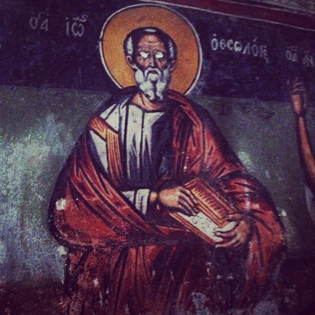 One of the murals in a Greek Orthodox Church in the remote mountains of Peloponesse. The eyes were precious stones but were removed by the Ottomans when captured. The history of the Ottoman occupation seems very different depending on where you go and the clergy vs everyday people. #greece #mythicalpeloponnese #churches #history