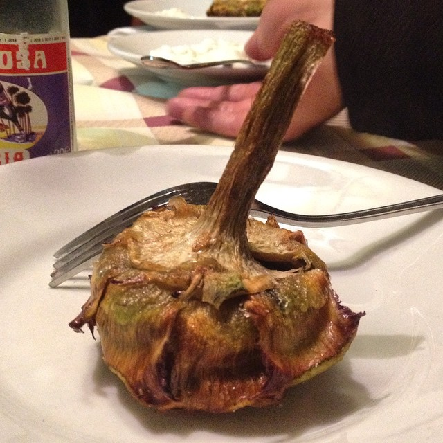 Completely stuffed my face with #eatingitaly tonight. This fried artichoke is the stuff of dreams. #Rome #travel #foodie