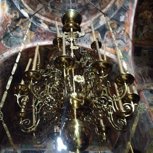 A chandelier in a Greek Orthodox Church after a 5km hike. Beautiful scenery and quite the hike! #greece #mythicalpeloponnese