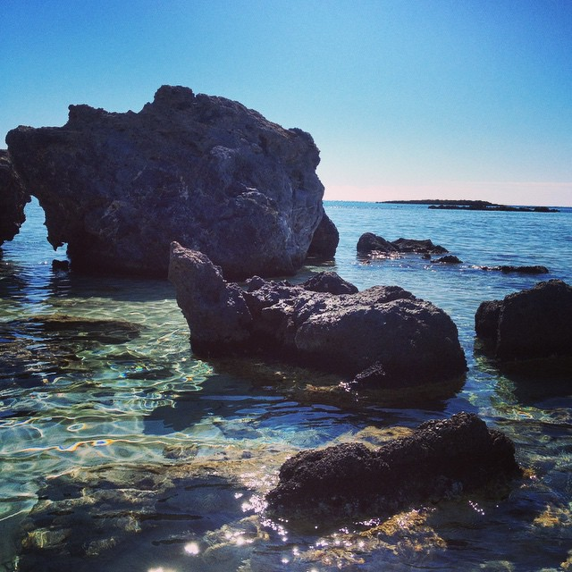 The gorgeous Cretan waters with loads of craggy rocks to explore! #Greece #crete #igtravelthursday