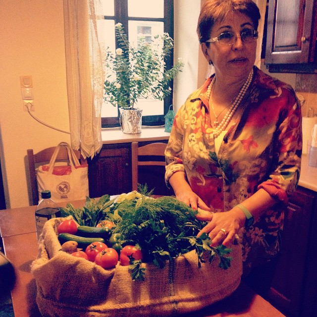 Our cooking class host sharing with us the basis of traditional #Crete food. Vegetables, bread, and most importantly olive oil play a big part. The authentic #Mediterranean diet #greece #food #cooking