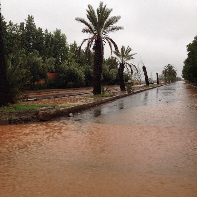 It's rained 14 hours non stop. That's a street not a pond! #Marrakech #morocco #rain #flood #weather #maroc