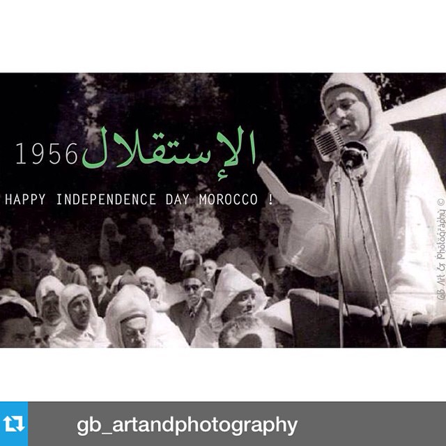 Happy Independence Day #Morocco! #Repost from @gb_artandphotography --- Happy Independence / استقلال day Moroccan People ❤️? ! by GB Art & Photography / Every year Morocco celebrates its Independence day, Eid Al Istiqlal on November 18 to honor the return of His Royal Highness the Sultan Mohamed V (may he rest in peace) to Morocco in 1956 after 44 years of exil in Madagascar. In this photo : Historical speech of HRH King Mohamed V from tangiers in favor of morocco's emancipation from France & Spain colonialism. #gbartphoto #gbartandphotography #graphism #istiqlal #independenceday #SAR #mohamedV #morocco #independance #freedom #proudtobemoroccan #ilovemorocco #maroc