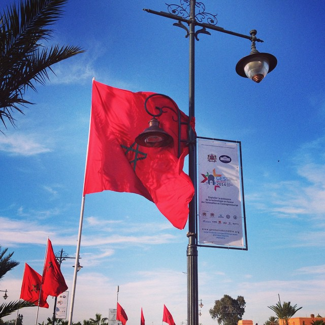 Bright red Moroccan flags waving in the wind! #ges2014 #morocco