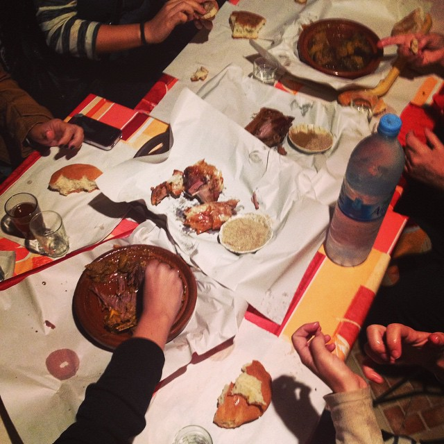 Please pass the lamb! Capped off a great day of #marrakechfoodtours with some lovely people from all corners of the world! #foodunites #foodie #travel #morocco #maroc