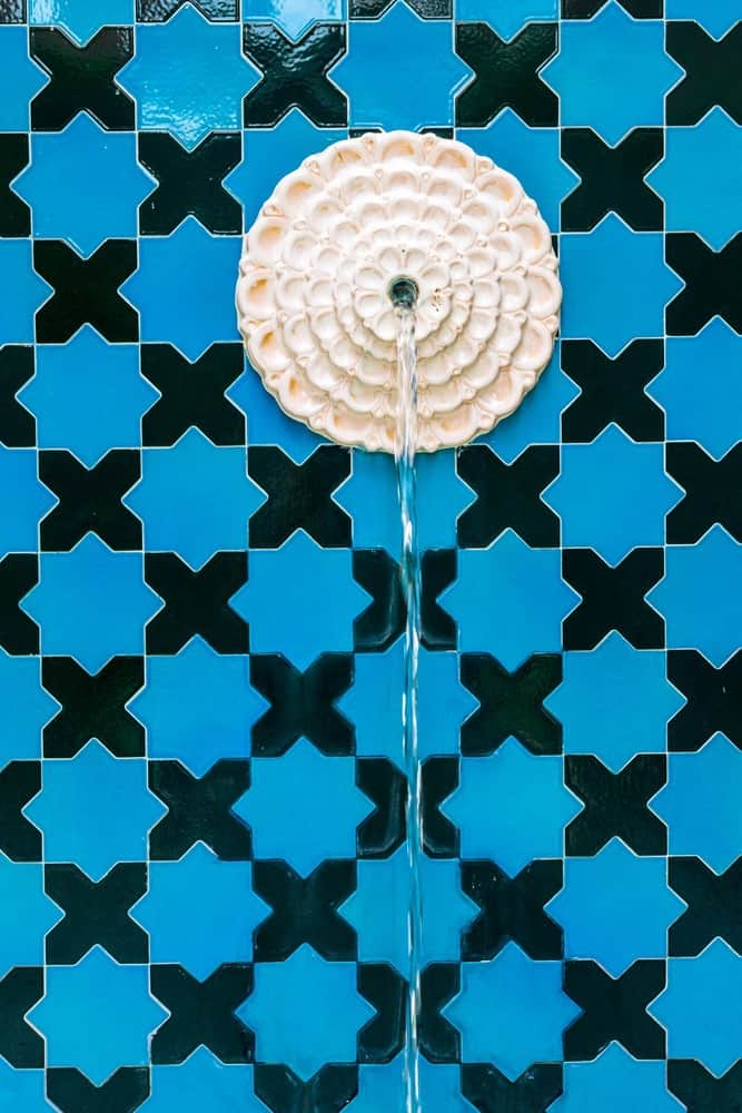 Moroccan fountain with mosaic tiles.