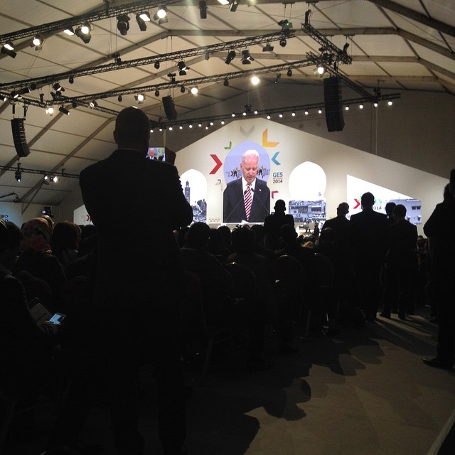 Vice President Biden announces the J Christopher Stevens Virtual Exchange Initiative to strengthen connections and communication between youth in the US and MENA. And a very nice tribute to the man who fell in love with Morocco and lost his life as ambassador to #Libya. #morocco #ges2014 #vpotus