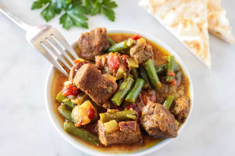 Slow Cooker Moroccan Beef and Green Bean Tajine