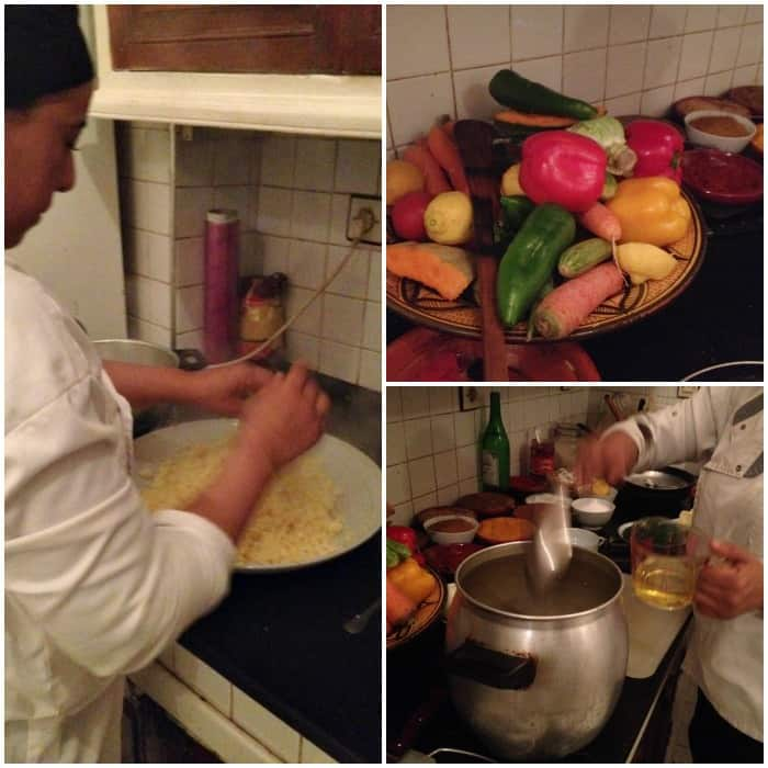 Homemade couscous preparation at Dar Les Cigognes