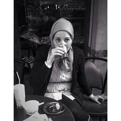 Amanda sipping Nousnous