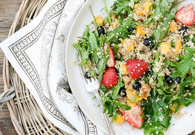 Berry, Arugula, and Quinoa Salad with Lemon-Chia Seed Dressing