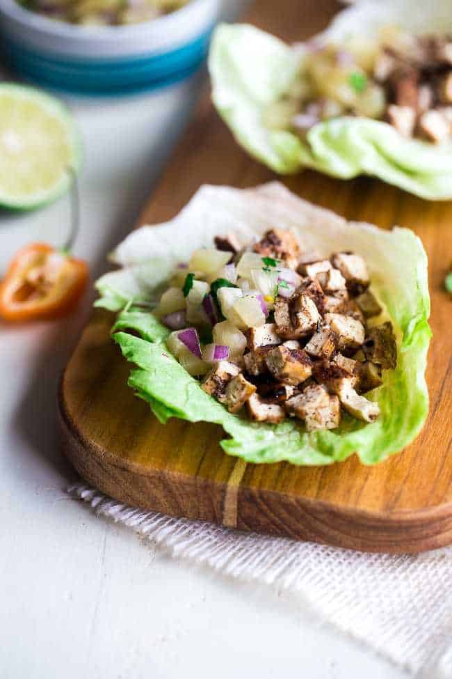 Vegetarian Lettuce Wraps with Jerk Grilled Tofu