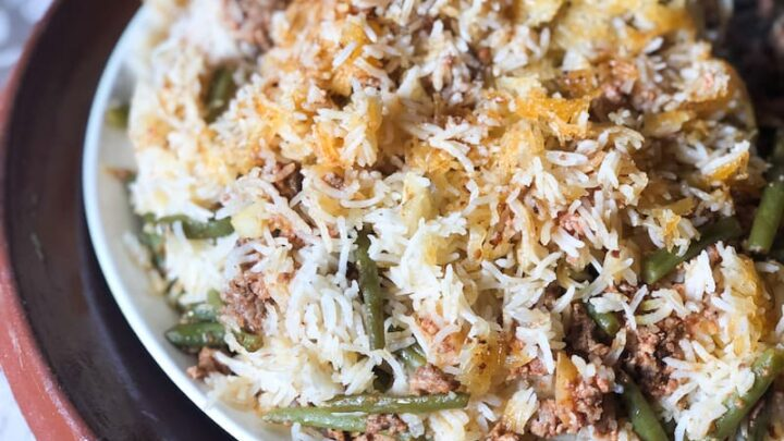 Iranian Estamboli Polo (Ground Beef and String Beans with Rice)