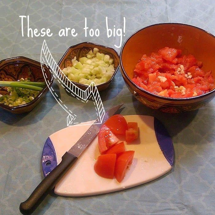 Preparing Sharmoula: Dice ingredients small