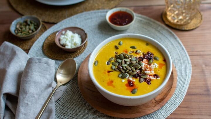 Roasted Butternut Squash Soup with Goat Cheese and Harissa Oil