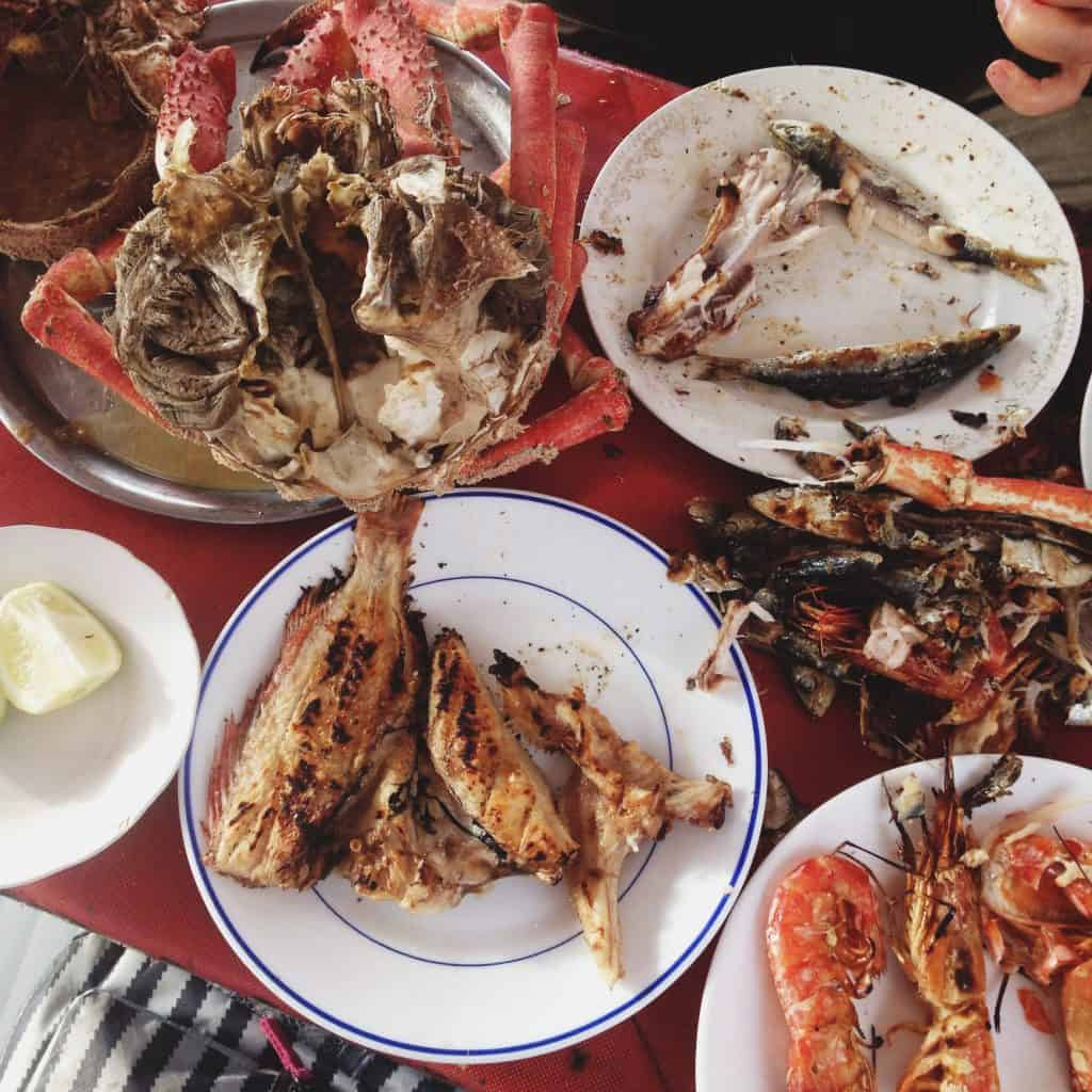 Grilled seafood in Essaouira