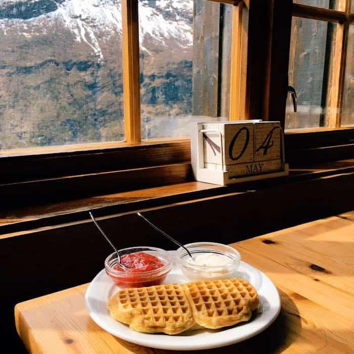Norwegian waffles in Geiranger