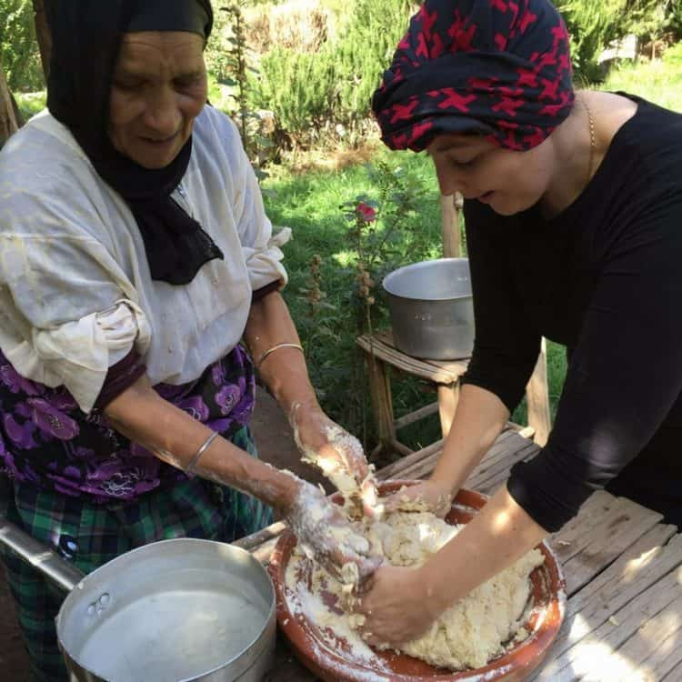 Kneading Tafernout Dough in Imlil Morocco