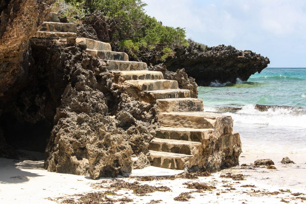 Stairs from the ocean in Kenya