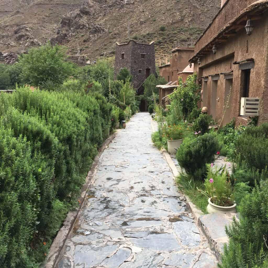 Walkway in the rain to Kasbah du Toubkal