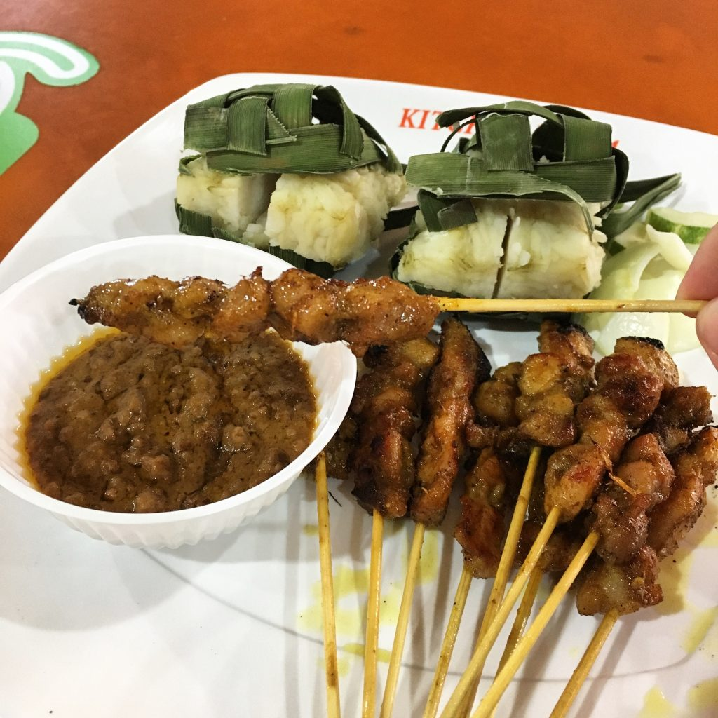 Chicken Satay with Rice in Singapore