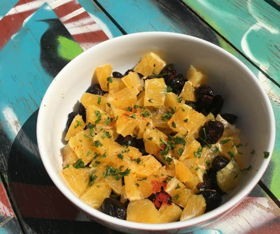 Orange and Olive salad with argan dressing