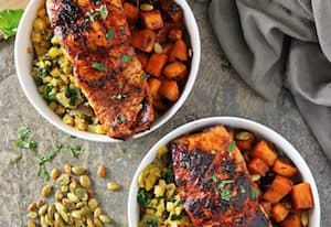Honey Chili Salmon Bowls