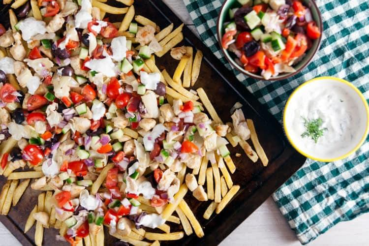 Loaded Greek Fries Sheet Pan Meal