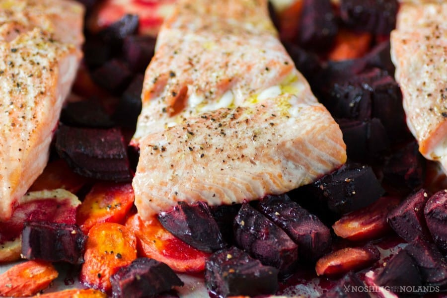 Roasted Salmon with Horseradish Sauce Sheet Pan Meal