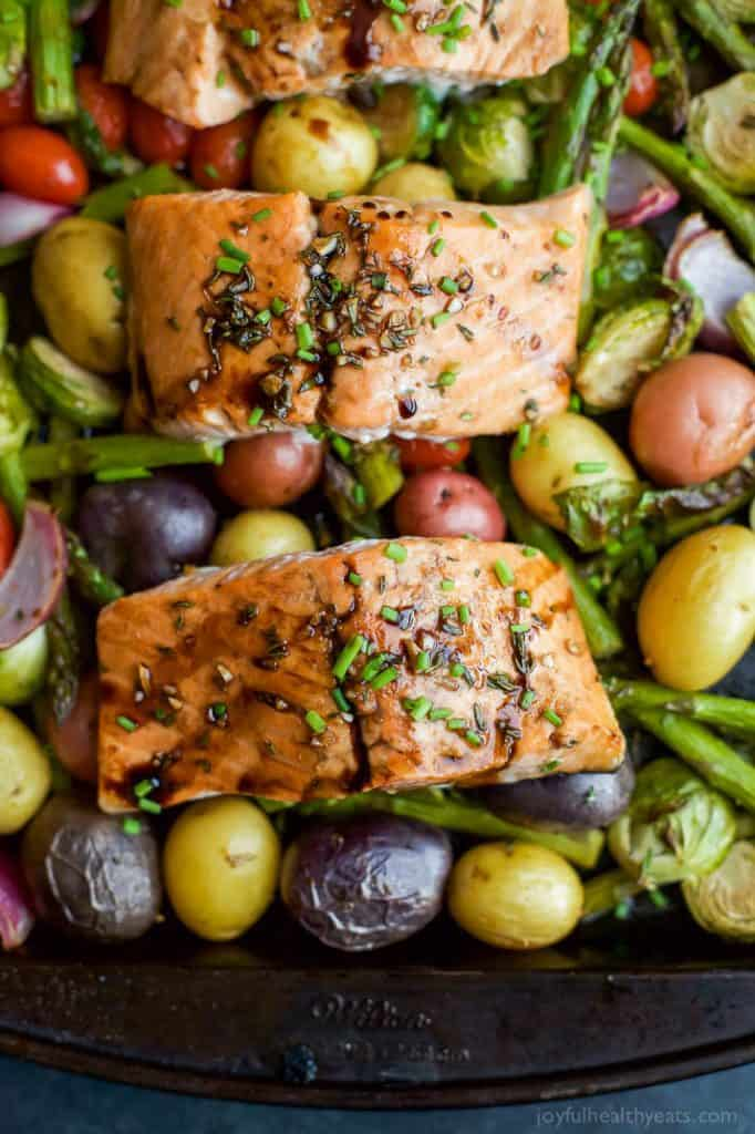 Balsamic Salmon with Brussels Sprouts and Asparagus Sheet Pan Meal