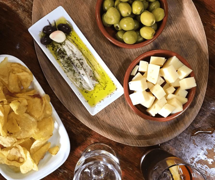 Snacks at a wine shop outside Barcelona
