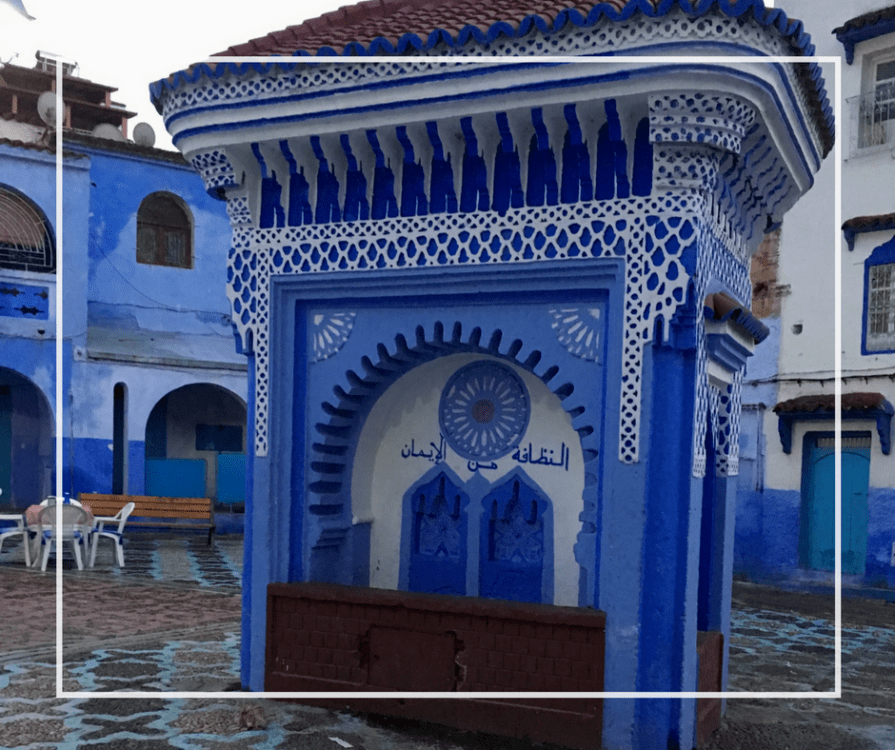 Blue Plaza in Chefchaouan, Morocco