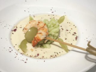 Ajo Blanco with Grilled Shrimp